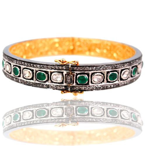 Emerald Rose Cut Diamond Bangle