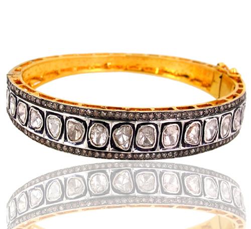 Rose Cut Diamond Gold Bangle