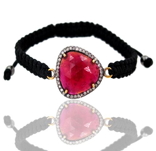 Gemstone Pave Diamond Gold Bracelet
