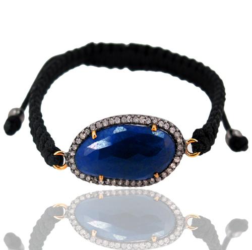 Blue Sapphire Macrame Bracelet