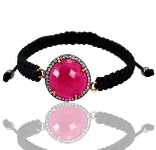 Pave Diamond Ruby Macrame Bracelet