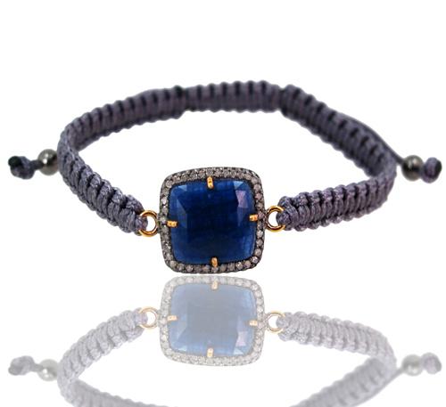 Pave Diamond Gemstone Macrame Bracelet