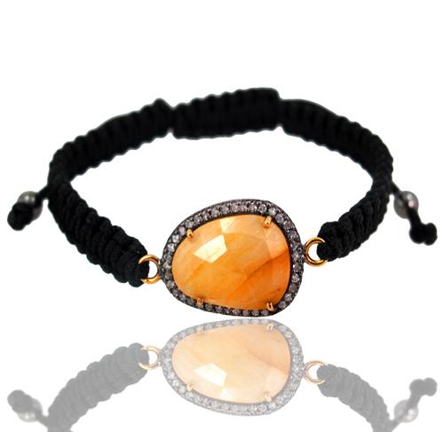 Diamond Studded Rutile Quartz Macrame Bracelet