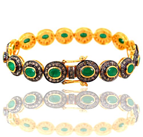Silver Diamond Pave Gemstone Link Bracelets