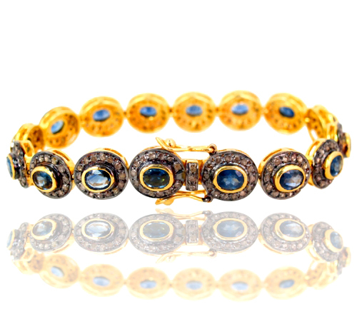 Sapphire Gemstone Silver Diamond Pave Bracelet