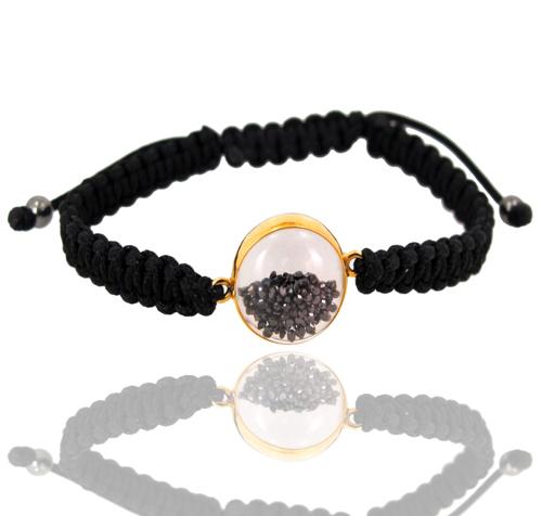 Crystal Black Diamond Macrame Bracelet