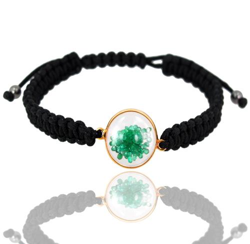 Emerald Gemstone Macrame Gold Bracelet