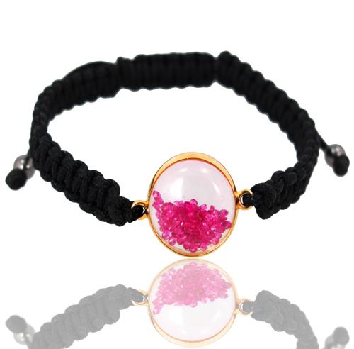Ruby Crystal Macrame Bracelet