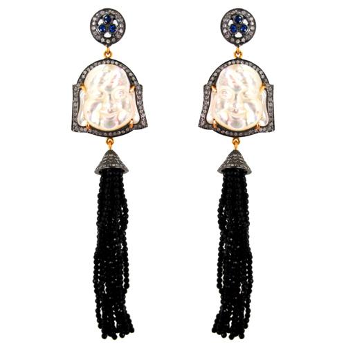 Buddha Carving Gemstone Beads Tassel Earrings