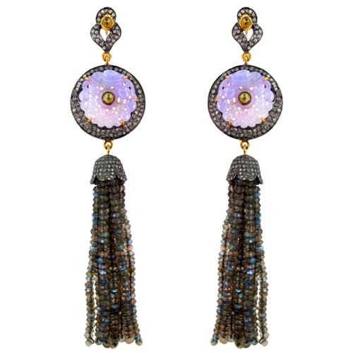 Gemstone Carved Labradorite Beads Tassel Earrings
