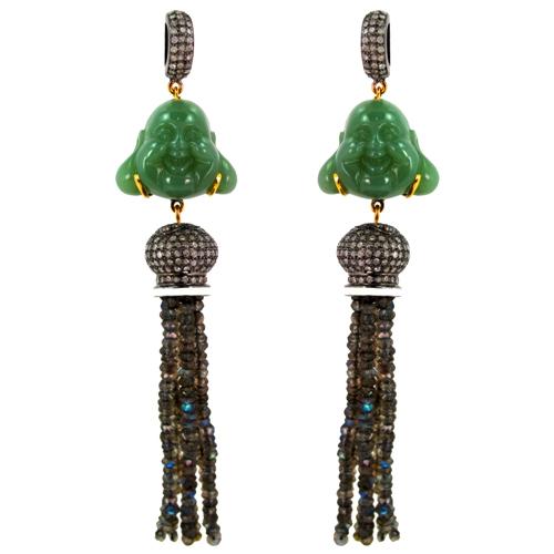 Jade Carving Labradorite Beads Tassel Earrings