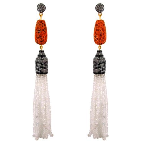 Coral Carving Gemstone Beaded Tassel Earrings