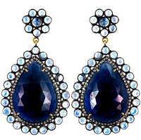 Diamond Pave Gemstone Gold Drop Earrings