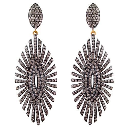 14k Gold Diamond Pave Earrings