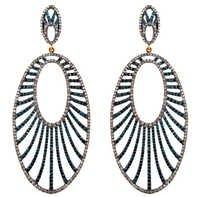 Silver Gold Pave Blue Diamond Earrings