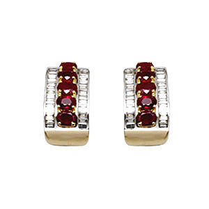prong and channel earring setting, ruby earring jewelry, 18k gold diamond earring