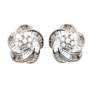 2013 latest earring design, flower design diamond earring, fancy style diamond earring in white gold