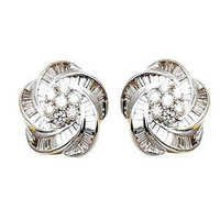 2013 latest earring design, flower design diamond earring, fancy style diamond earring in white gold