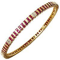 Channel Setting Ruby Diamond Gold Bangle Supplier
