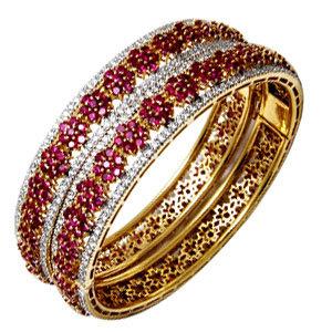 Designer bangle with ruby gemstone bangle jewelry