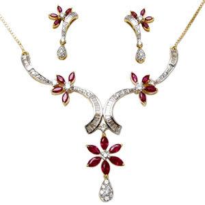 designer gemstone necklace, white gold necklace set for girls, flower design necklace in 18k gold
