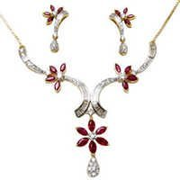designer gemstone necklace, white gold necklace set for girls, flower design necklace in 18k gold