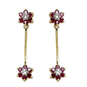 drop earrings pattern in gold, gemstone satna earrings, earring with chains for ladies