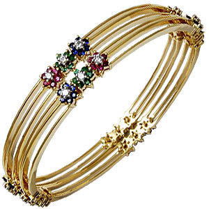 Multi color gemstone bangle design catalog