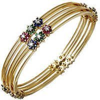 Multi color gemstone bangle design catalog
