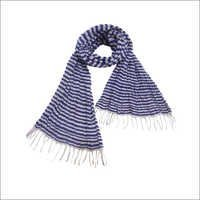 Silk Blue White Stripes Crinkle Scarf