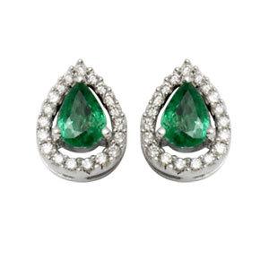 pear shaped emerald diamond, precious gemstone studded gold, tops earrings for women