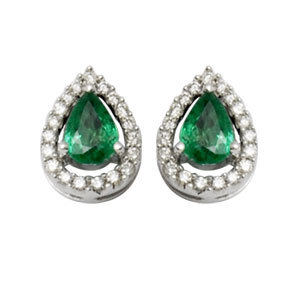 pear shaped emerald diamond, precious gemstone studded gold, tops earrings for women