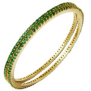 Sleek Emerald Yellow Gold Bangles Jewelry