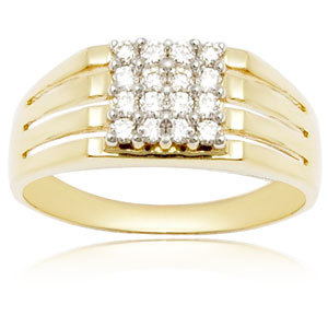 Diamond Studded Mens Yellow Gold Ring