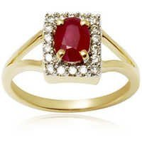 v shank ruby studded diamond gold ring, simple precious gemstone ring, yellow gold ring for girls