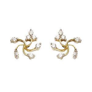 spiral star shaped diamond earrings,screw back dia