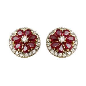 genuine ruby stud earrings, diamond and ruby india, pear shaped ruby in flower pattern