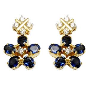 blue sapphire diamond jewelry earring, designer earring for women, flower hanging sapphire earring