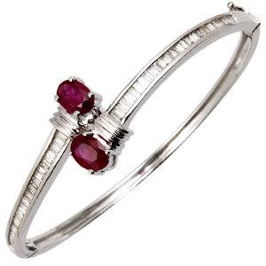 Red Ruby Baguette Diamond White Gold Half Bangle