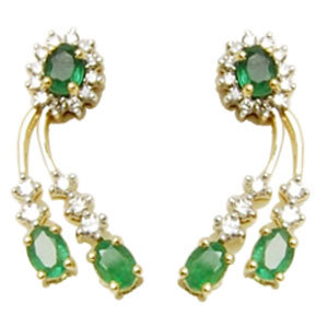 emerald costume jewelry earrings, natural sakota emerald cut stones, diamond emerald tops design