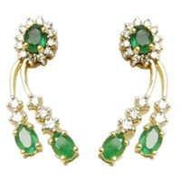 emerald costume jewelry earrings, natural sakota emerald cut stones, diamond emerald tops design