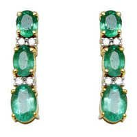 emerald hanging earring, long earring design in yellow gold, gemstone studded girls earring