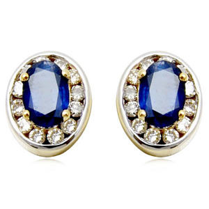 genuine thiland blue sapphire and diamond oval earring tops for ladies,top earrings, fancy earring