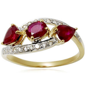 three stone ring, designer light weight gold and diamond ring, ring for girls