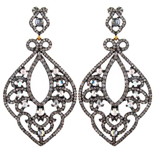 Gemstone Filigree Pave Diamond Dangle Earrings