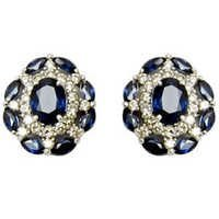 Dark Blue Sapphire Designer For Women, Fancy White