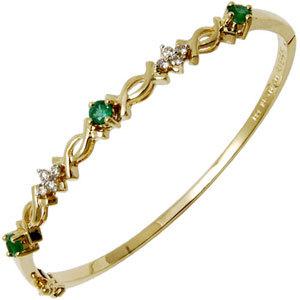 18k gold natural emerald diamond bracelet