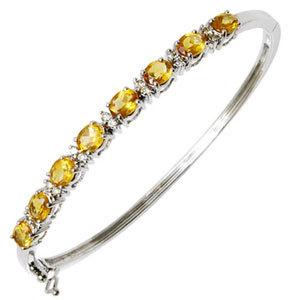 Latest White Gold Yellow Sapphire Half Bangle