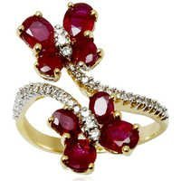 18k solid yellow gold ruby flower ring, unique ruby engagement rings, ruby pave diamond engagement