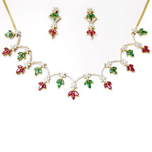 multi colored gemstone,design necklace set,18k women's gold in emerald and ruby and diamond